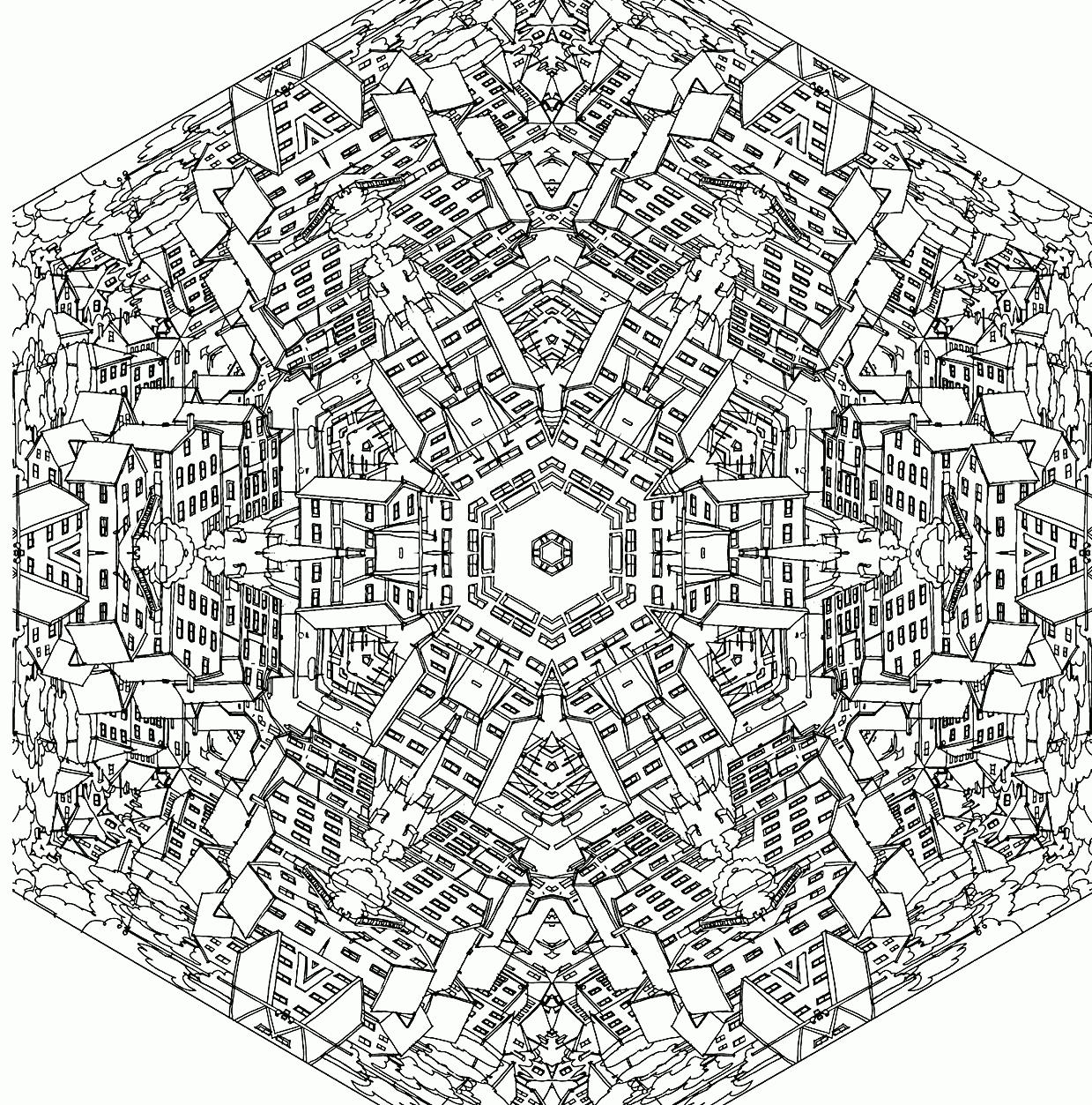 Раскраски мандала города