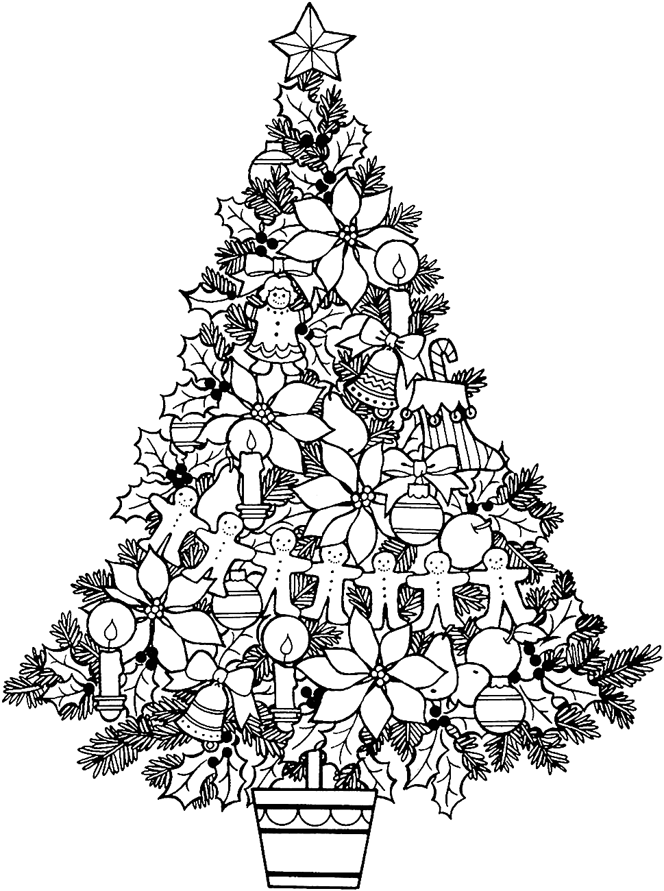Черно белые картинки елок
