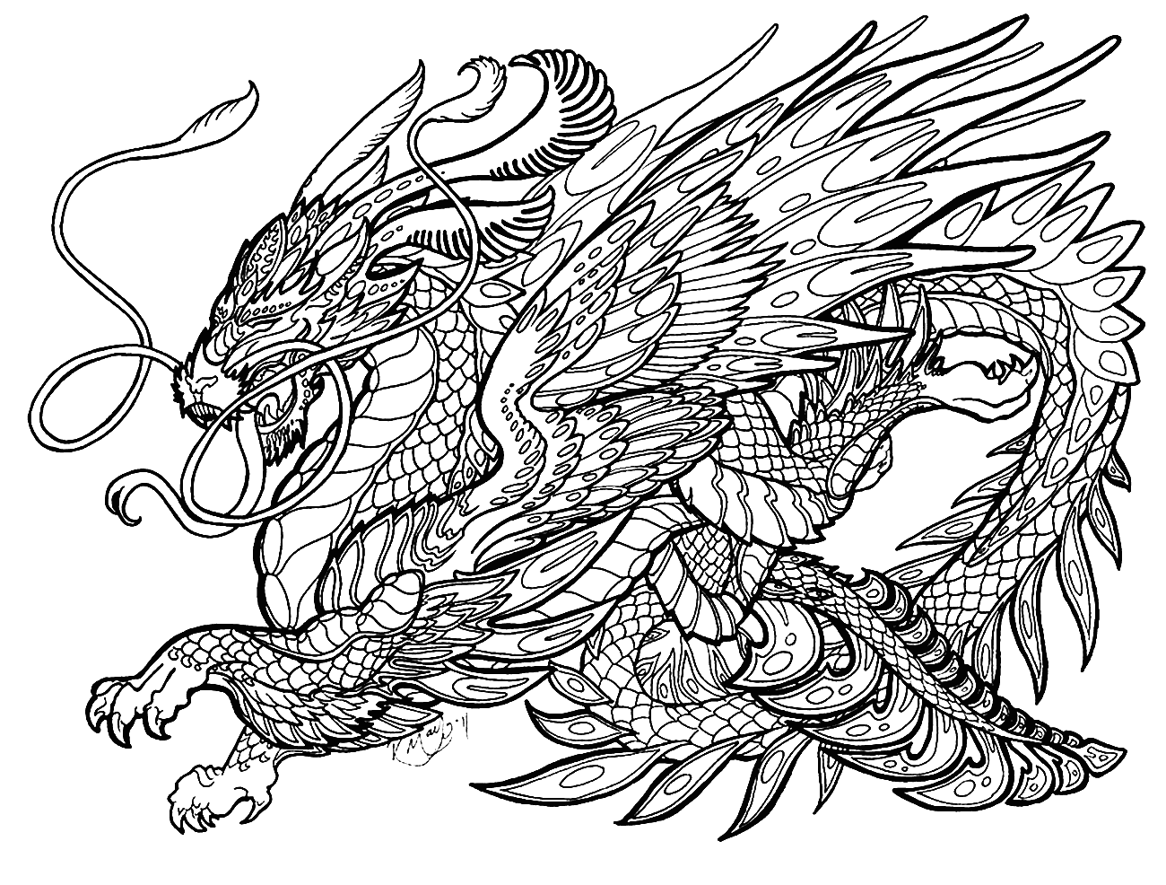 цветной дракон картинка распечатать