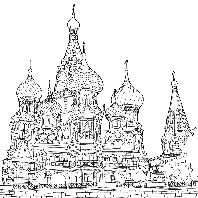 Раскраска храма василия блаженного